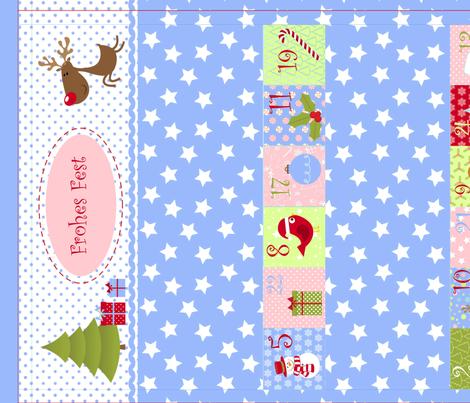 Weihnachtskalender für Mädchen (Cut and Sew) fabric by ciconia on Spoonflower - custom fabric