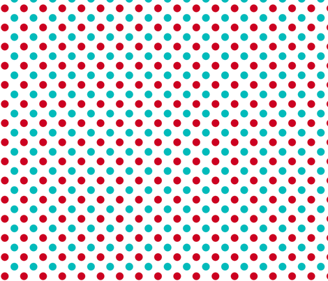 red and turquoise polka dots fabric by risarocksit on Spoonflower - custom fabric