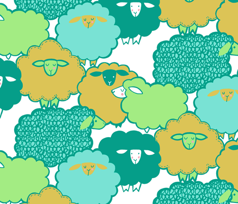 Sheep Shape (teal) fabric by leanne on Spoonflower - custom fabric