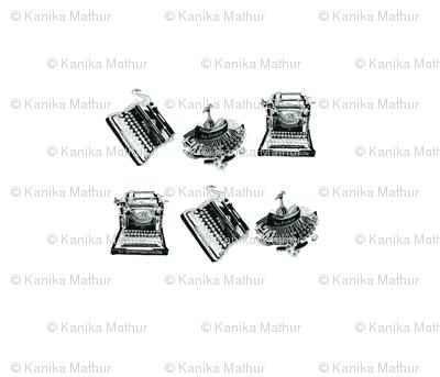 Typewriters & Birds(Black & White)