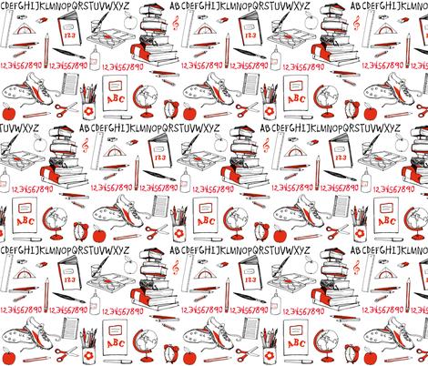 school_supplies_line fabric by johanna_design on Spoonflower - custom fabric