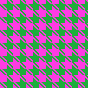 shocking pink green houndstooth large