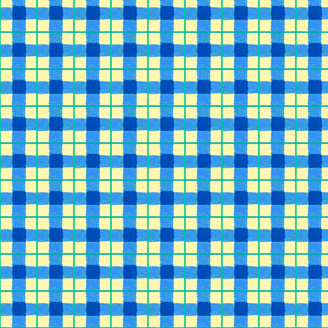 blue yellow rough plaid fabric by mojiarts on Spoonflower - custom fabric