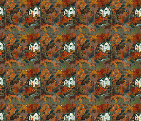 A White House & Autumn Trees  fabric by linandara on Spoonflower - custom fabric