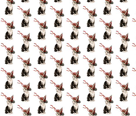 Kitten with Witch Hat fabric by 13moons_design on Spoonflower - custom fabric
