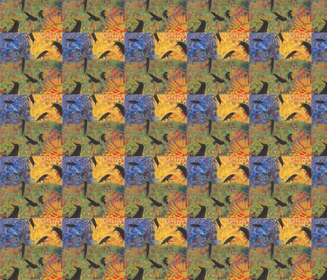 a day in the life of a raven fabric by juliannjones on Spoonflower - custom fabric