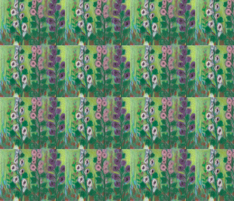 hollyhocks fabric by juliannjones on Spoonflower - custom fabric