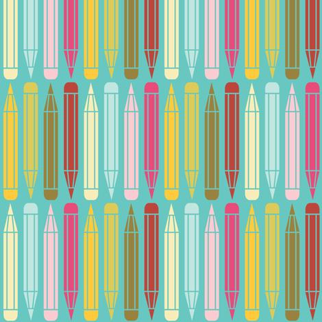 just_pencils_multi_onblue fabric by natasha_k_ on Spoonflower - custom fabric