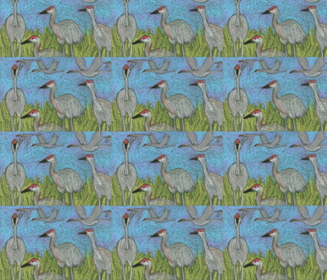 sandhill cranes fabric by juliannjones on Spoonflower - custom fabric