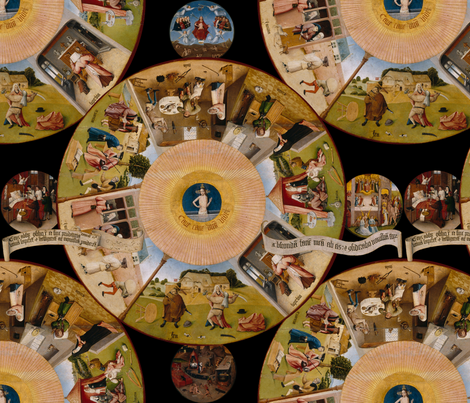 Hieronymus Bosch- The Seven Deadly Sins and the Four Last Things fabric by peacoquettedesigns on Spoonflower - custom fabric