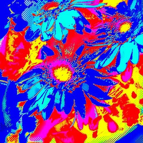 blue and purple daisies