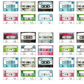 """Colourful casette tapes - bordered 12"""" squares"""