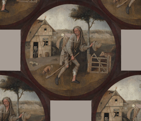 Heronimus Bosch ~ The Pedlar fabric by peacoquettedesigns on Spoonflower - custom fabric