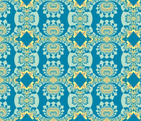 Graceful Fractals in Blue, Green, and Orange fabric by clotilda_warhammer on Spoonflower - custom fabric