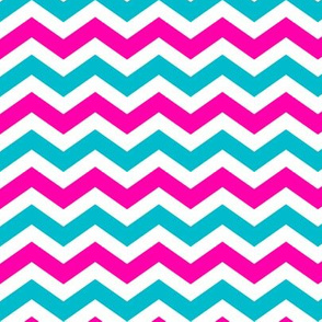Pink and Turqoise Chevron