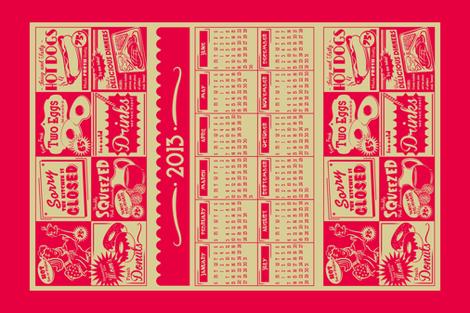 Retro Kitchen (Advertising) ~ 2013 Calendar/Tea Towel **FOR LINEN** fabric by retrorudolphs on Spoonflower - custom fabric