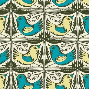 Beady Eyed Bird (Teal & Sand)