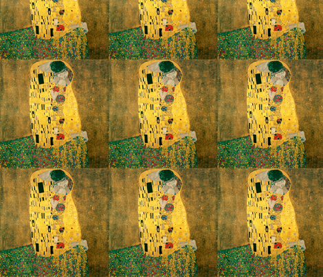 The Kiss (Gustav Klimt, 1908) fabric by studiofibonacci on Spoonflower - custom fabric