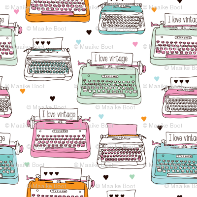 Cute vintage typewriter illustration pattern