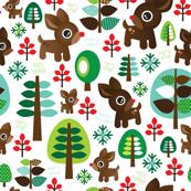 Retro reindeer christmas fabric pattern