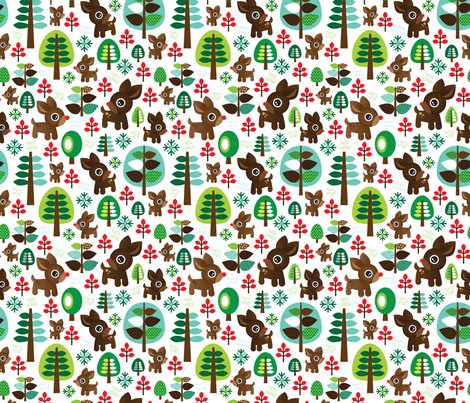 Retro reindeer christmas fabric pattern fabric - littlesmilemakers ...