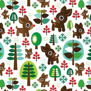 Retro reindeer christmas fabric pattern