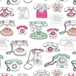 Vintage telephone who's calling communication fabric pattern