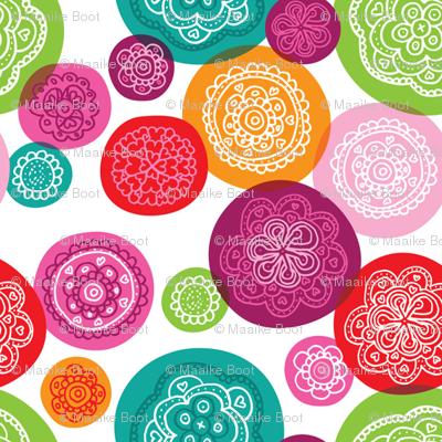 Retro flower blossom ornament illustration pattern