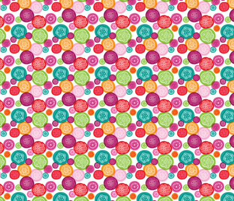 Retro flower blossom ornament illustration pattern fabric by littlesmilemakers on Spoonflower - custom fabric