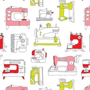 Vintage sewing machine fashion fabric
