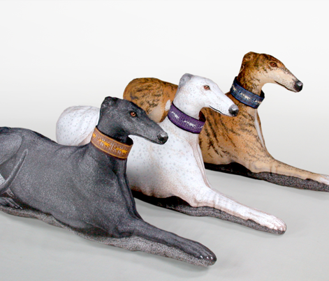 Greyhound Pillow Panel - Blue Female