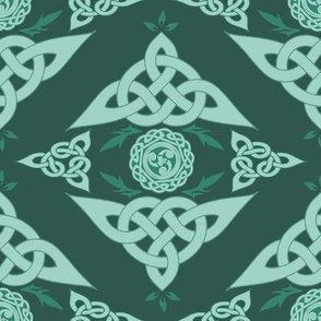 Celtic Triquetra Damask in Sage Green