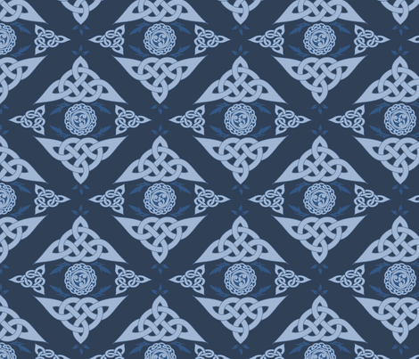 Celtic Triquetra Damask Royal Blue fabric by angelyques on Spoonflower - custom fabric