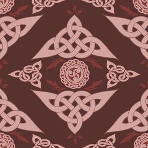 Celtic Triquetra Damask Crimson Red