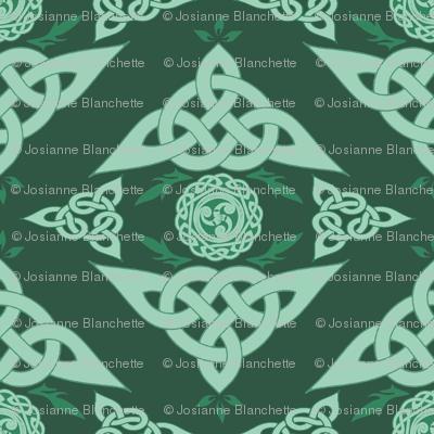 Celtic Triquetra Damask Hunter Green