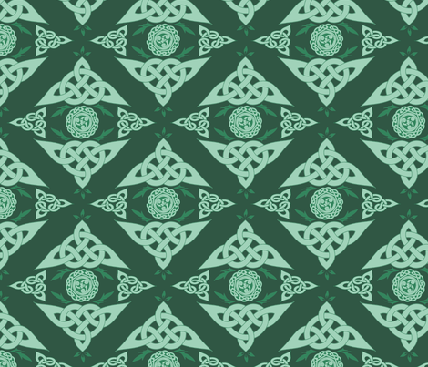 Celtic Triquetra Damask Hunter Green fabric by angelyques on Spoonflower - custom fabric