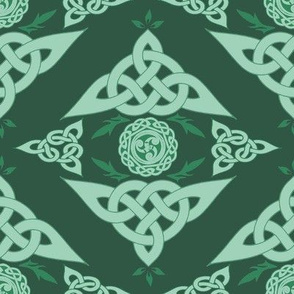 Celtic Triquetra Damask Hunter Green