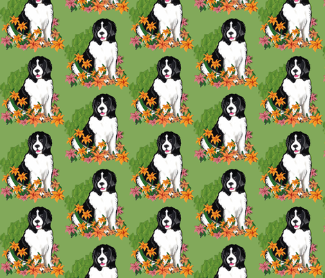 Newfy In The Garden fabric fabric by dogdaze_ on Spoonflower - custom fabric