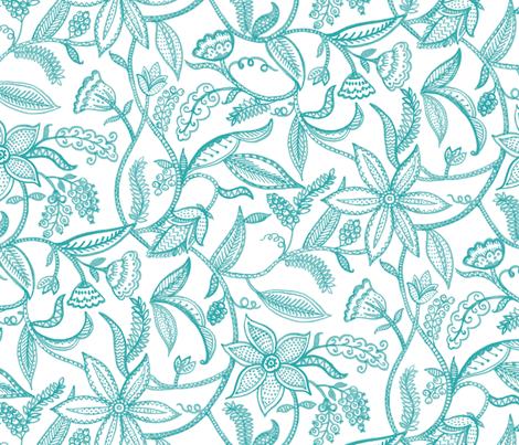 Climbing plants__turquoise fabric by chulabird on Spoonflower - custom fabric