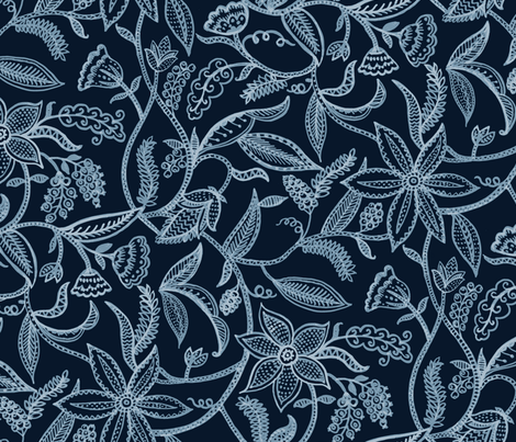 Flowering vines_big fabric by chulabird on Spoonflower - custom fabric