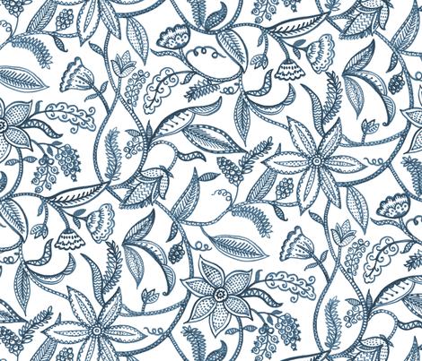 Climbing plants__blue fabric by chulabird on Spoonflower - custom fabric