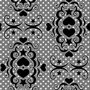 Hearts & Stars Damask - Night Gray