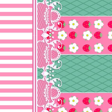 Strawberry Flower Coordinate fabric by jadegordon on Spoonflower - custom fabric