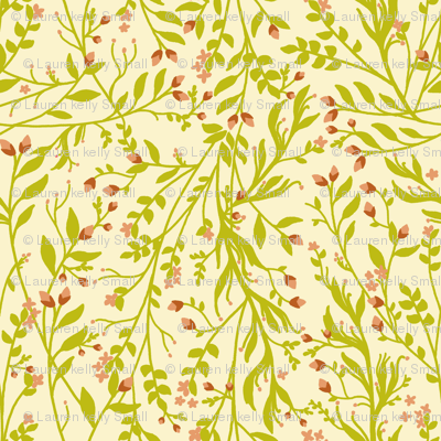 Vintage Floral Vines Grass Rust Muted Peach