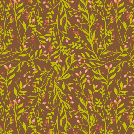 Tangled Sage Gold on Chestnut fabric by thistleandfox on Spoonflower - custom fabric