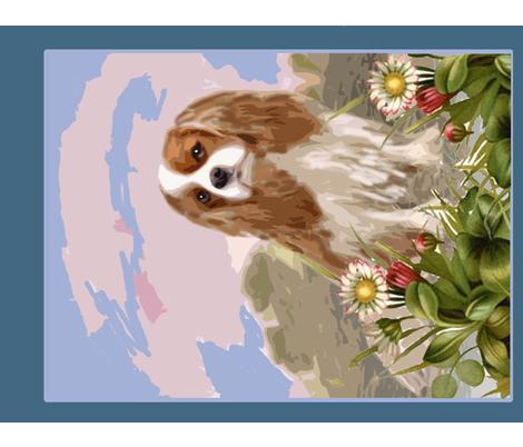 Cavalier Spaniel Garden Flag Fabric fabric by dogdaze_ on Spoonflower - custom fabric