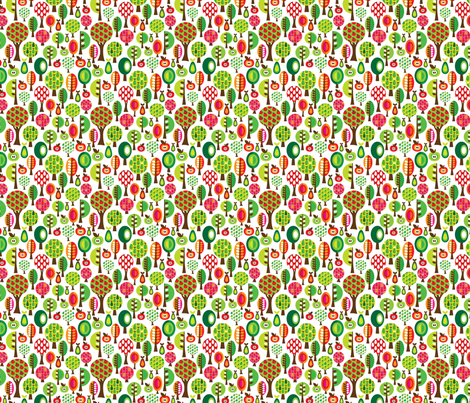Retro fruit and apple trees pattern fabric by littlesmilemakers on Spoonflower - custom fabric