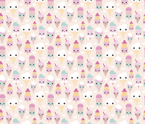 Colorful sweet summer ice cream popsicle sugar pastel kawaii illustration fabric by littlesmilemakers on Spoonflower - custom fabric
