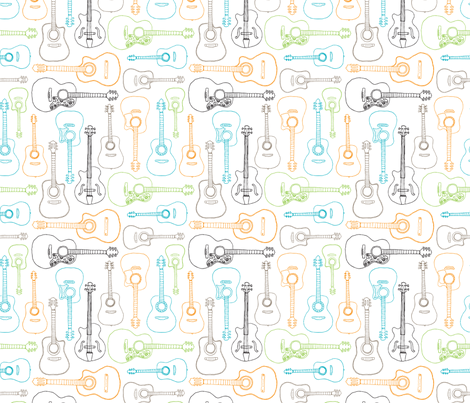 Rock music instrument guitar pattern fabric by littlesmilemakers on Spoonflower - custom fabric