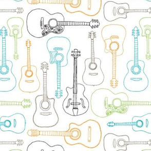 Rock music instrument guitar pattern blue green boys